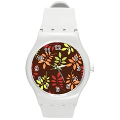 Leaves Wallpaper Pattern Seamless Autumn Colors Leaf Background Round Plastic Sport Watch (m) by Simbadda