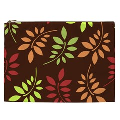 Leaves Wallpaper Pattern Seamless Autumn Colors Leaf Background Cosmetic Bag (xxl)  by Simbadda