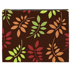 Leaves Wallpaper Pattern Seamless Autumn Colors Leaf Background Cosmetic Bag (XXXL)  by Simbadda