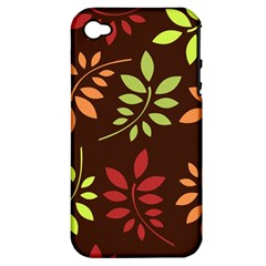 Leaves Wallpaper Pattern Seamless Autumn Colors Leaf Background Apple Iphone 4/4s Hardshell Case (pc+silicone) by Simbadda