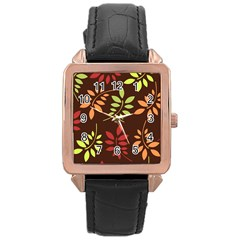 Leaves Wallpaper Pattern Seamless Autumn Colors Leaf Background Rose Gold Leather Watch  by Simbadda