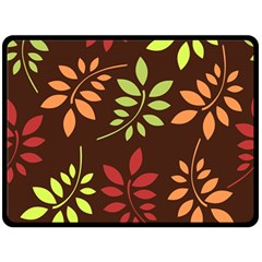 Leaves Wallpaper Pattern Seamless Autumn Colors Leaf Background Double Sided Fleece Blanket (large)  by Simbadda