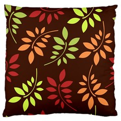 Leaves Wallpaper Pattern Seamless Autumn Colors Leaf Background Large Flano Cushion Case (two Sides) by Simbadda