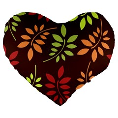 Leaves Wallpaper Pattern Seamless Autumn Colors Leaf Background Large 19  Premium Flano Heart Shape Cushions by Simbadda