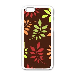 Leaves Wallpaper Pattern Seamless Autumn Colors Leaf Background Apple Iphone 6/6s White Enamel Case by Simbadda