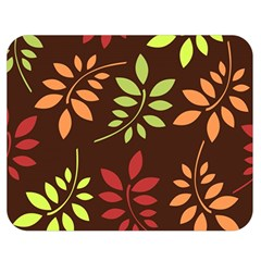 Leaves Wallpaper Pattern Seamless Autumn Colors Leaf Background Double Sided Flano Blanket (medium)  by Simbadda