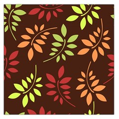 Leaves Wallpaper Pattern Seamless Autumn Colors Leaf Background Large Satin Scarf (square) by Simbadda