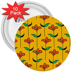 Small Flowers Pattern Floral Seamless Vector 3  Buttons (10 pack)  by Simbadda