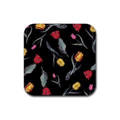 Colorful Tulip Wallpaper Pattern Background Pattern Wallpaper Rubber Coaster (square)  by Simbadda