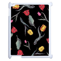 Colorful Tulip Wallpaper Pattern Background Pattern Wallpaper Apple Ipad 2 Case (white) by Simbadda