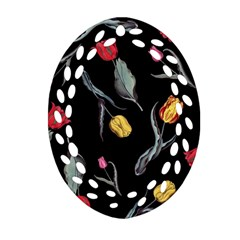 Colorful Tulip Wallpaper Pattern Background Pattern Wallpaper Ornament (oval Filigree) by Simbadda