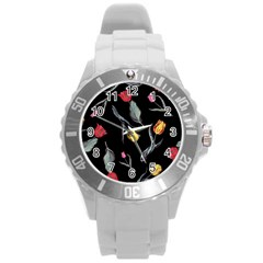 Colorful Tulip Wallpaper Pattern Background Pattern Wallpaper Round Plastic Sport Watch (l) by Simbadda