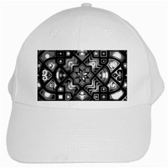 Geometric Line Art Background In Black And White White Cap by Simbadda