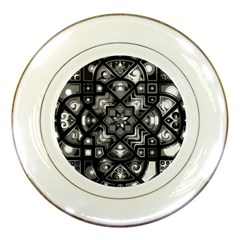 Geometric Line Art Background In Black And White Porcelain Plates by Simbadda