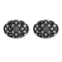 Geometric Line Art Background In Black And White Cufflinks (oval) by Simbadda