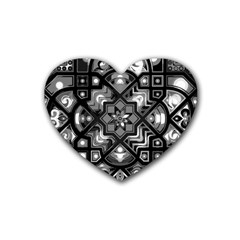 Geometric Line Art Background In Black And White Heart Coaster (4 Pack)  by Simbadda