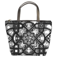 Geometric Line Art Background In Black And White Bucket Bags by Simbadda
