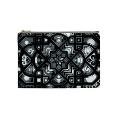 Geometric Line Art Background In Black And White Cosmetic Bag (medium)