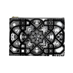 Geometric Line Art Background In Black And White Cosmetic Bag (large)  by Simbadda