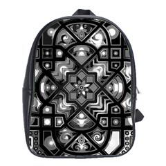 Geometric Line Art Background In Black And White School Bags(large)  by Simbadda