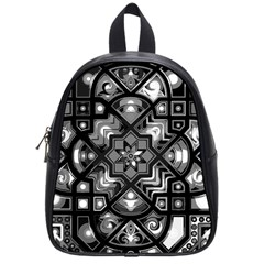 Geometric Line Art Background In Black And White School Bags (small)  by Simbadda