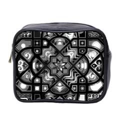 Geometric Line Art Background In Black And White Mini Toiletries Bag 2 Side by Simbadda