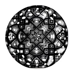 Geometric Line Art Background In Black And White Round Filigree Ornament (two Sides) by Simbadda