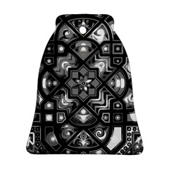 Geometric Line Art Background In Black And White Bell Ornament (two Sides) by Simbadda