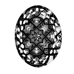 Geometric Line Art Background In Black And White Oval Filigree Ornament (two Sides) by Simbadda