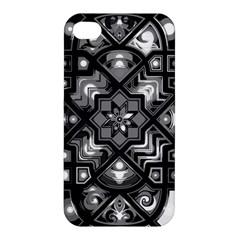 Geometric Line Art Background In Black And White Apple Iphone 4/4s Hardshell Case by Simbadda