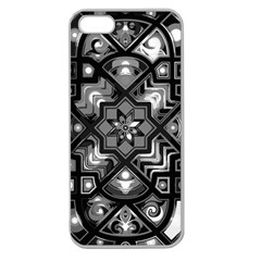 Geometric Line Art Background In Black And White Apple Seamless Iphone 5 Case (clear) by Simbadda