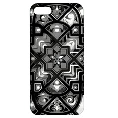 Geometric Line Art Background In Black And White Apple Iphone 5 Hardshell Case With Stand by Simbadda