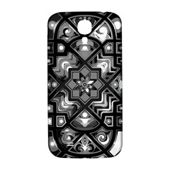 Geometric Line Art Background In Black And White Samsung Galaxy S4 I9500/i9505  Hardshell Back Case by Simbadda