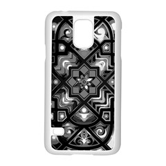 Geometric Line Art Background In Black And White Samsung Galaxy S5 Case (white) by Simbadda