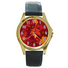 Autumn Leaves Fall Maple Round Gold Metal Watch by Simbadda