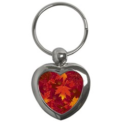 Autumn Leaves Fall Maple Key Chains (heart)  by Simbadda