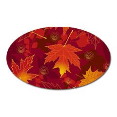 Autumn Leaves Fall Maple Oval Magnet by Simbadda