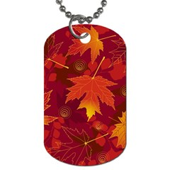 Autumn Leaves Fall Maple Dog Tag (one Side) by Simbadda