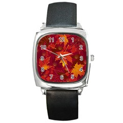 Autumn Leaves Fall Maple Square Metal Watch by Simbadda