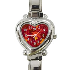 Autumn Leaves Fall Maple Heart Italian Charm Watch by Simbadda