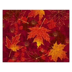 Autumn Leaves Fall Maple Rectangular Jigsaw Puzzl by Simbadda