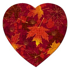 Autumn Leaves Fall Maple Jigsaw Puzzle (heart) by Simbadda