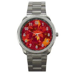 Autumn Leaves Fall Maple Sport Metal Watch by Simbadda