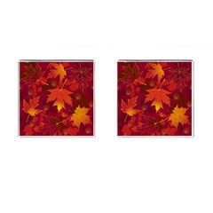Autumn Leaves Fall Maple Cufflinks (square) by Simbadda