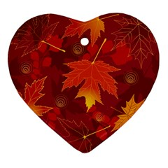 Autumn Leaves Fall Maple Heart Ornament (two Sides) by Simbadda
