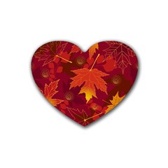 Autumn Leaves Fall Maple Heart Coaster (4 Pack)  by Simbadda