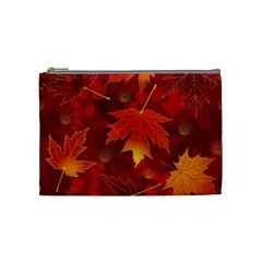 Autumn Leaves Fall Maple Cosmetic Bag (medium)  by Simbadda
