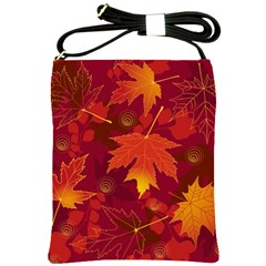 Autumn Leaves Fall Maple Shoulder Sling Bags by Simbadda
