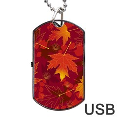 Autumn Leaves Fall Maple Dog Tag Usb Flash (two Sides) by Simbadda