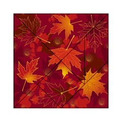 Autumn Leaves Fall Maple Acrylic Tangram Puzzle (6  X 6 ) by Simbadda
